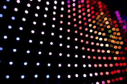 Blurry LED lights panel isolated on black Background